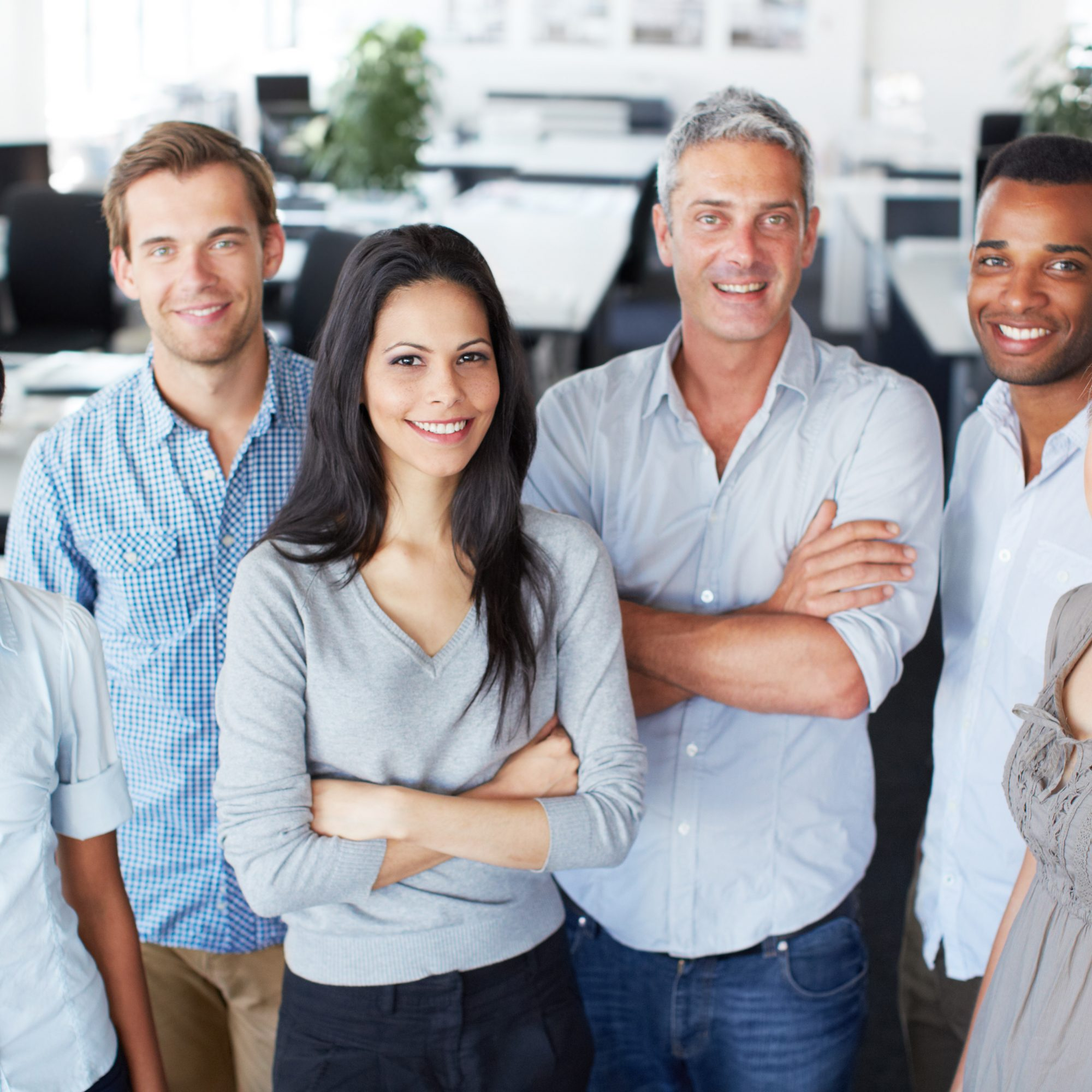 Portrait of a happy diverse office team