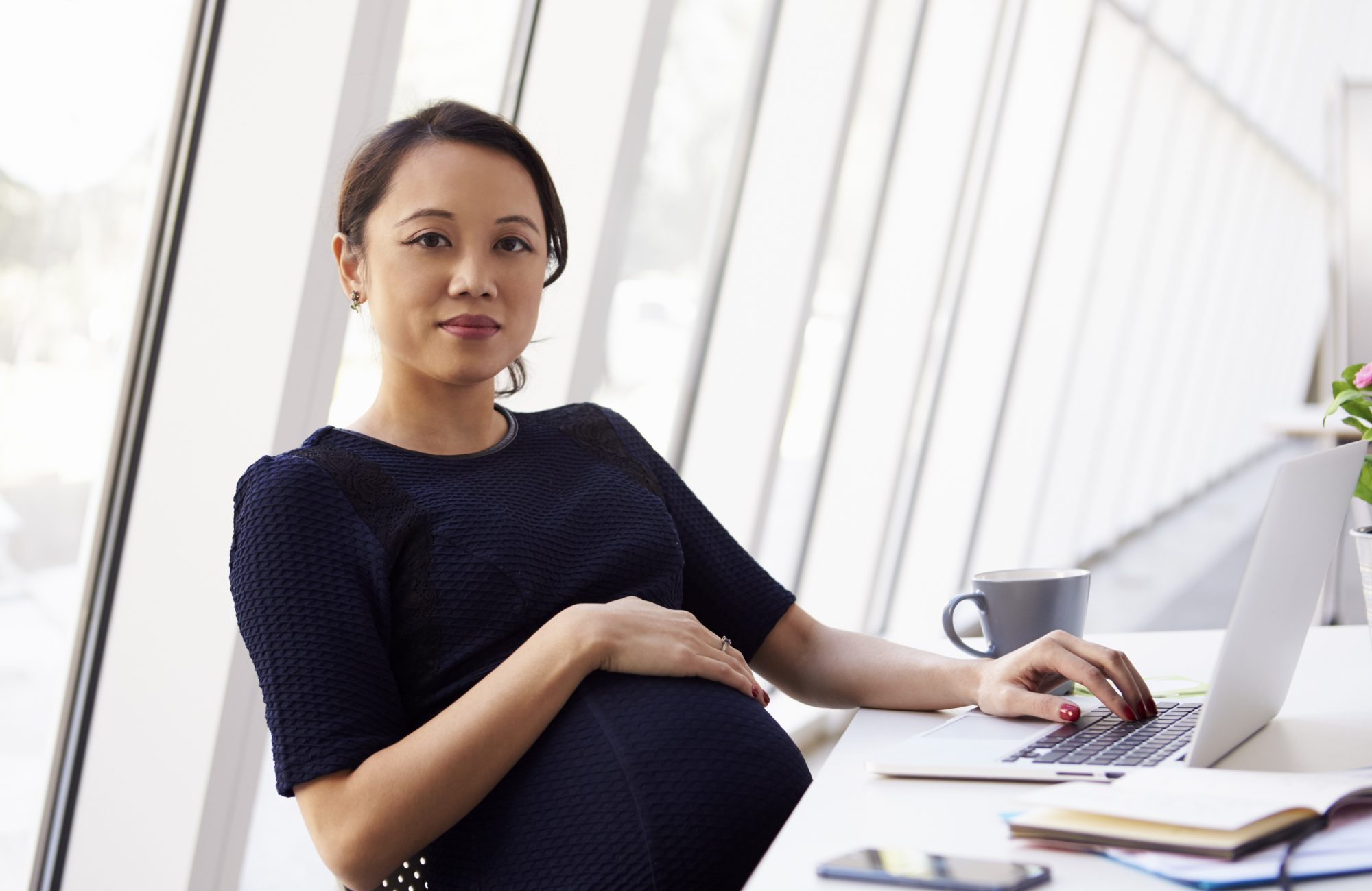 Portrait Of Pregnant Businesswoman Using Laptop In Office
