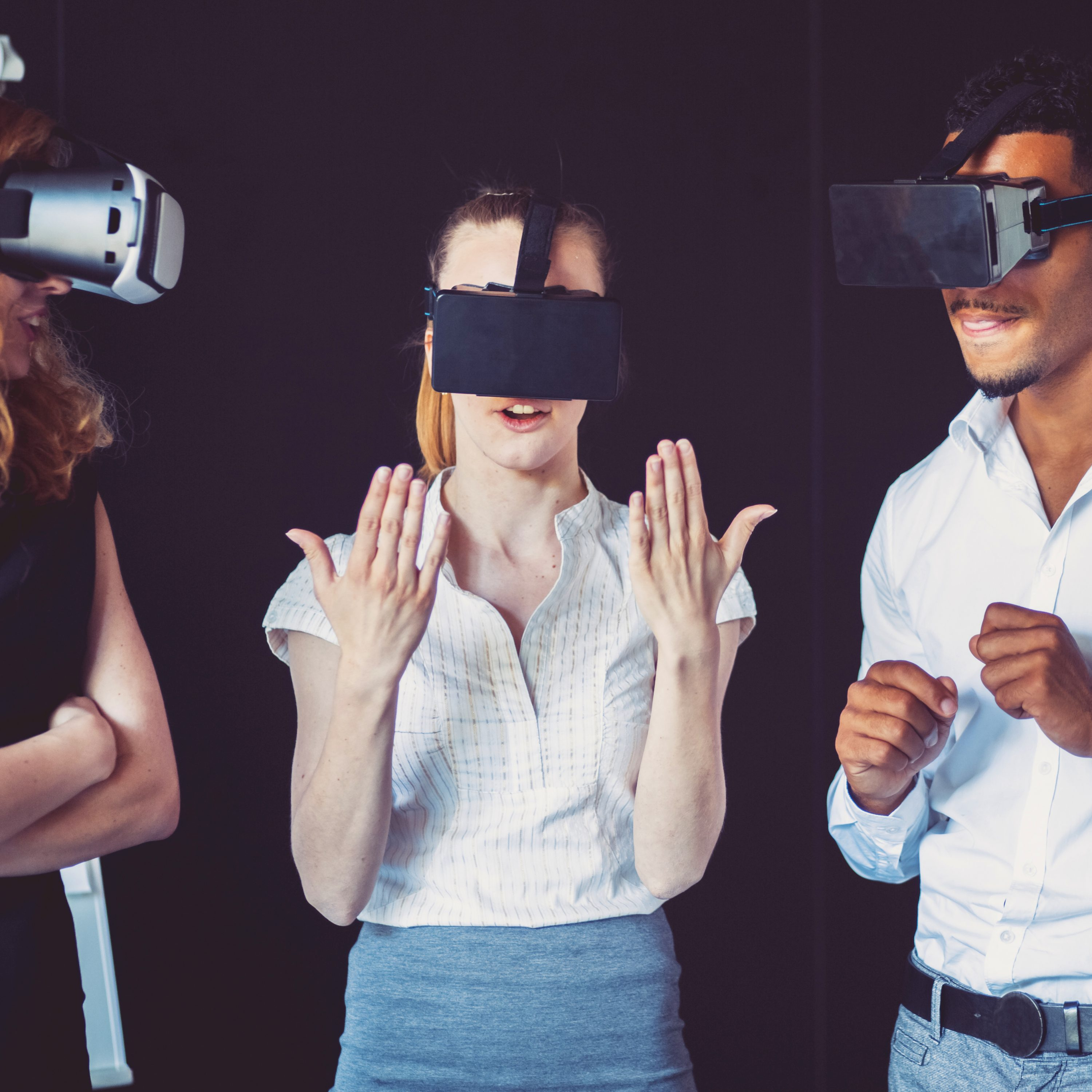 Business team using virtual reality headset in the office.
